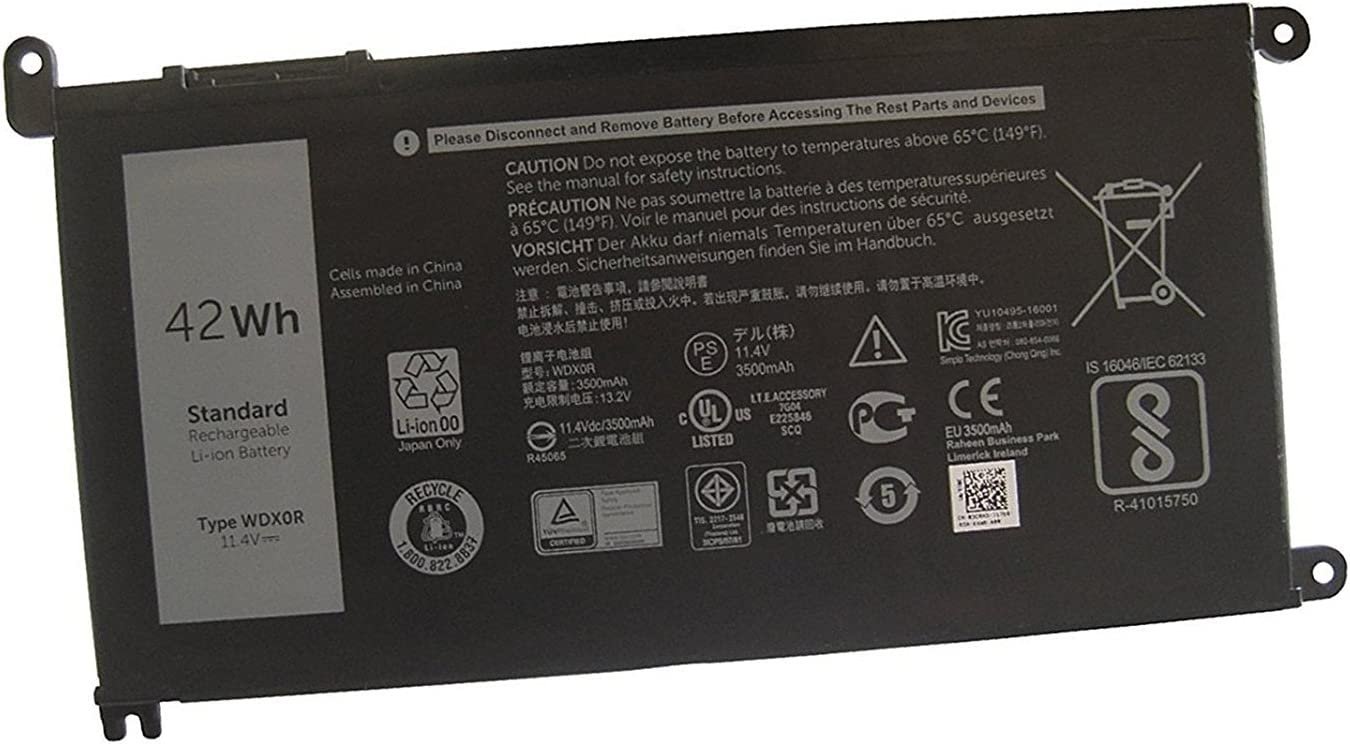 Ding New WDXOR Replacement Laptop Battery Compatible With Dell Inspiron 15 5568 7560 5567 7569 7368 (11.4V 42WH)