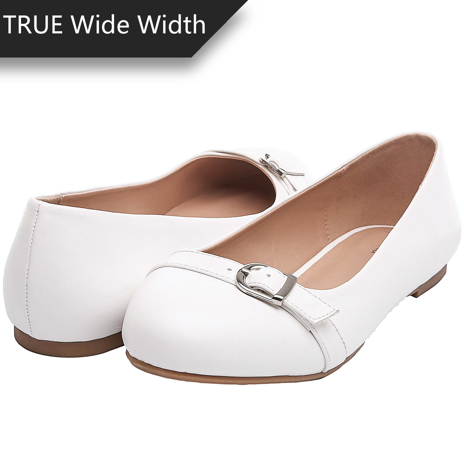 Luoika Women's Wide Width Flat Shoes - Comfortable Slip On Round Toe Ballet Flats(WhitePU 180340,6.5WW)