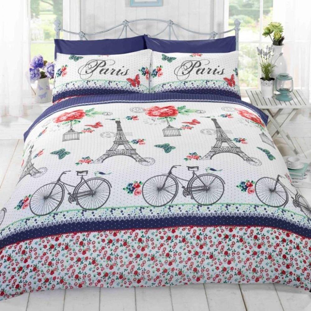 Homespace Direct C'Est La Vie Paris Duvet Cover Quilt Bedding Set, Blue Flowers, Butterflies, Pink, Eiffel Tower, Bicycles Double