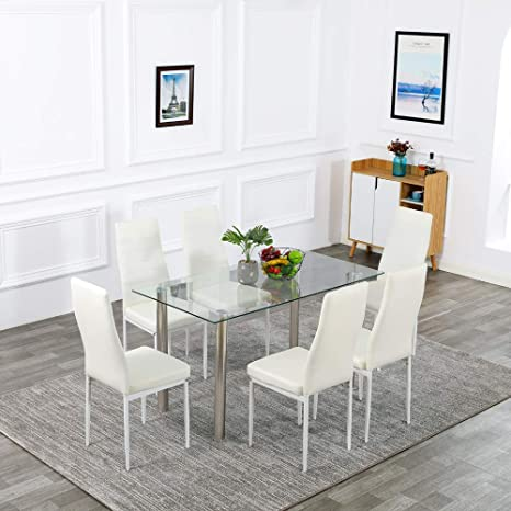 Bonnlo Dining Table with Chairs 7-Piece Kitchen Dining Set Glass Dining  Table Set with Upholstered Dining Chairs (White)