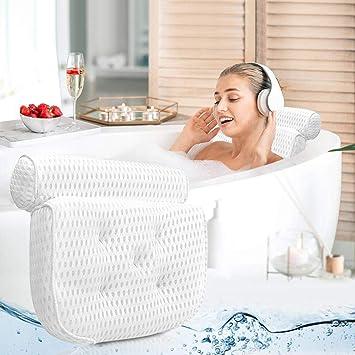 Bathtub Cushion Pillow Comfortable Full Body Bathtub Cushion Pillow for Fits Any Size Tub Spas or Women Gifts Jacuzzi Non-Slip Cups Machine Washable Quick Dry PVC Hollow Bathtub Cushion
