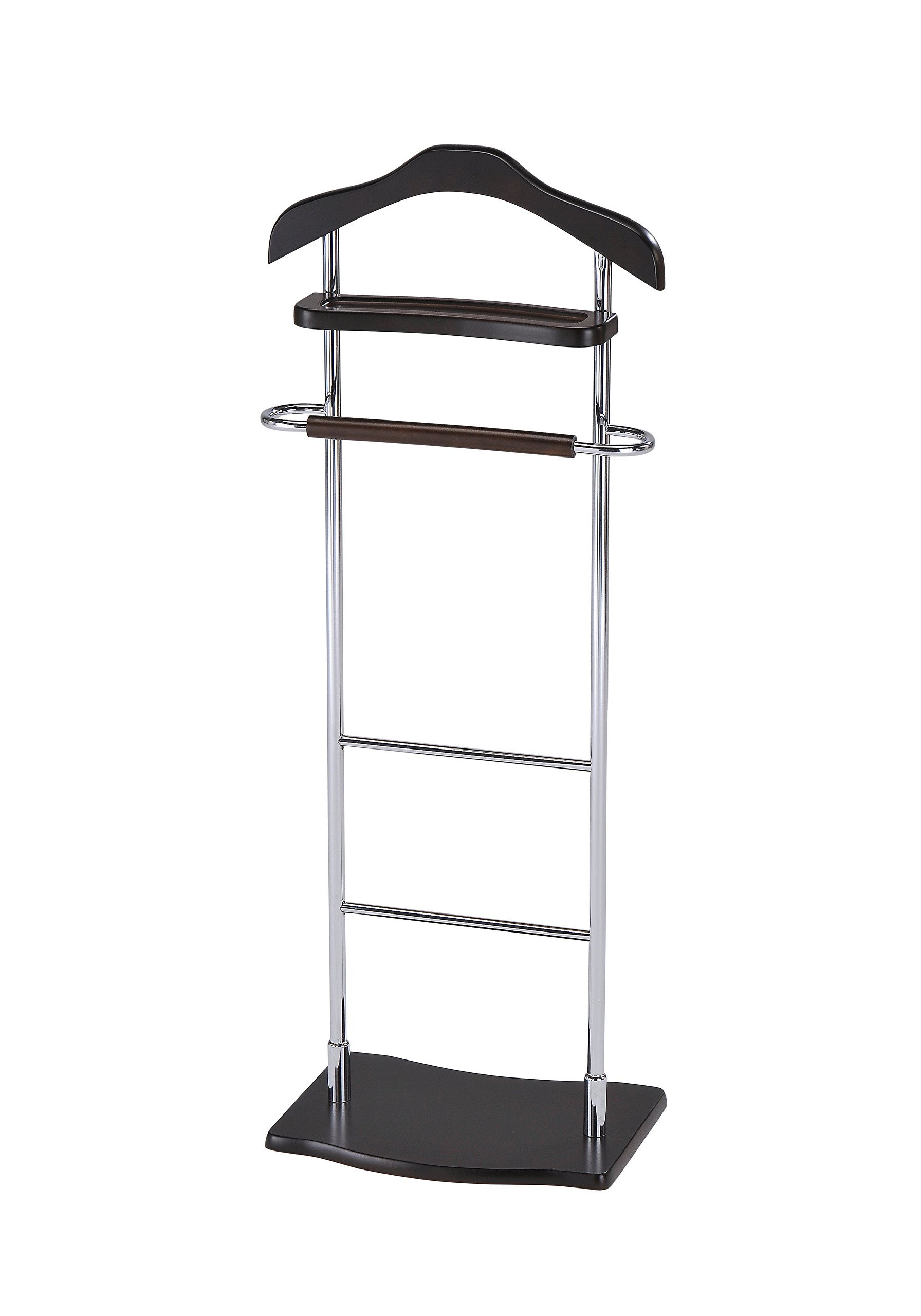 InRoom Designs CH-4181 Kings Brand Chrome Finish Wood and Metal Suit Valet Rack Stand Organizer, Walnut