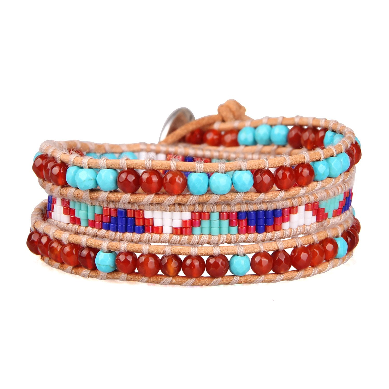 KELITCH Powder Coral Beads Original Leather Charm 3 Wrap Bracelet Handmade New Top Stretch Bracelets (Red)