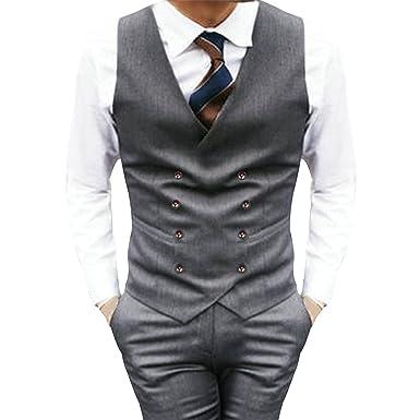 67af6ac86c5 Pishon Men's Double Breasted Waistcoat Business Slim Fit Suit Separate  Vest(XS-XL)