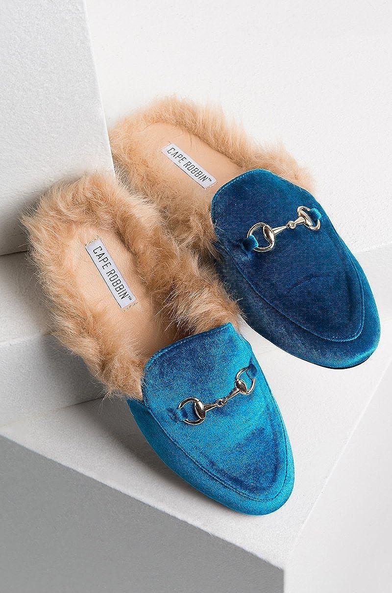 3866c48d0f9 CAPE ROBBIN Women s Your Majesty Faux Fur Velvet Loafer Slides ...