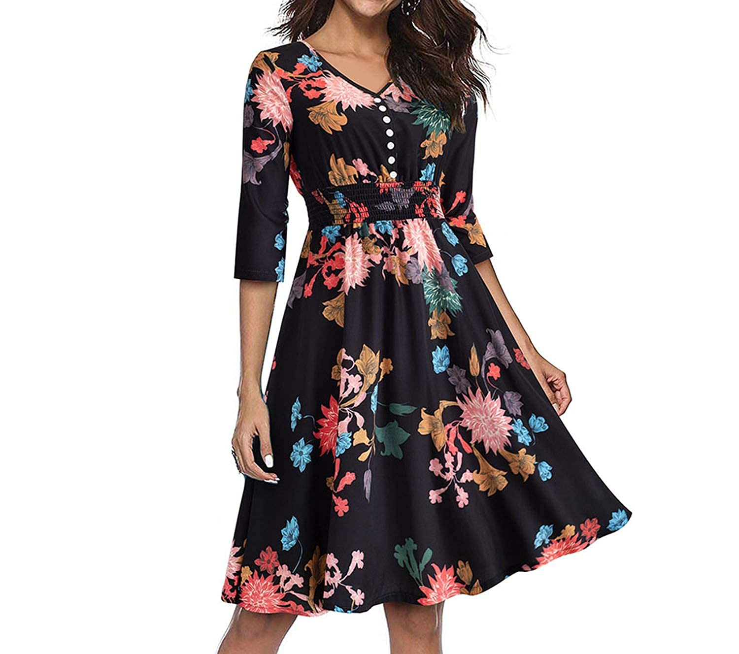 Black Small Printed Flower Pinup Elastic Waist Vestidos ALine Business Party Flare Swing Autumn Dress A122