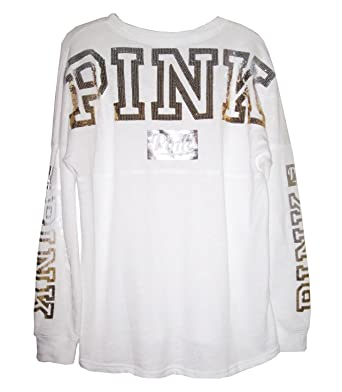 3b9da866a8198 Victoria Secret Pink White Bling Over Size Varsity Crew Top, Large ...