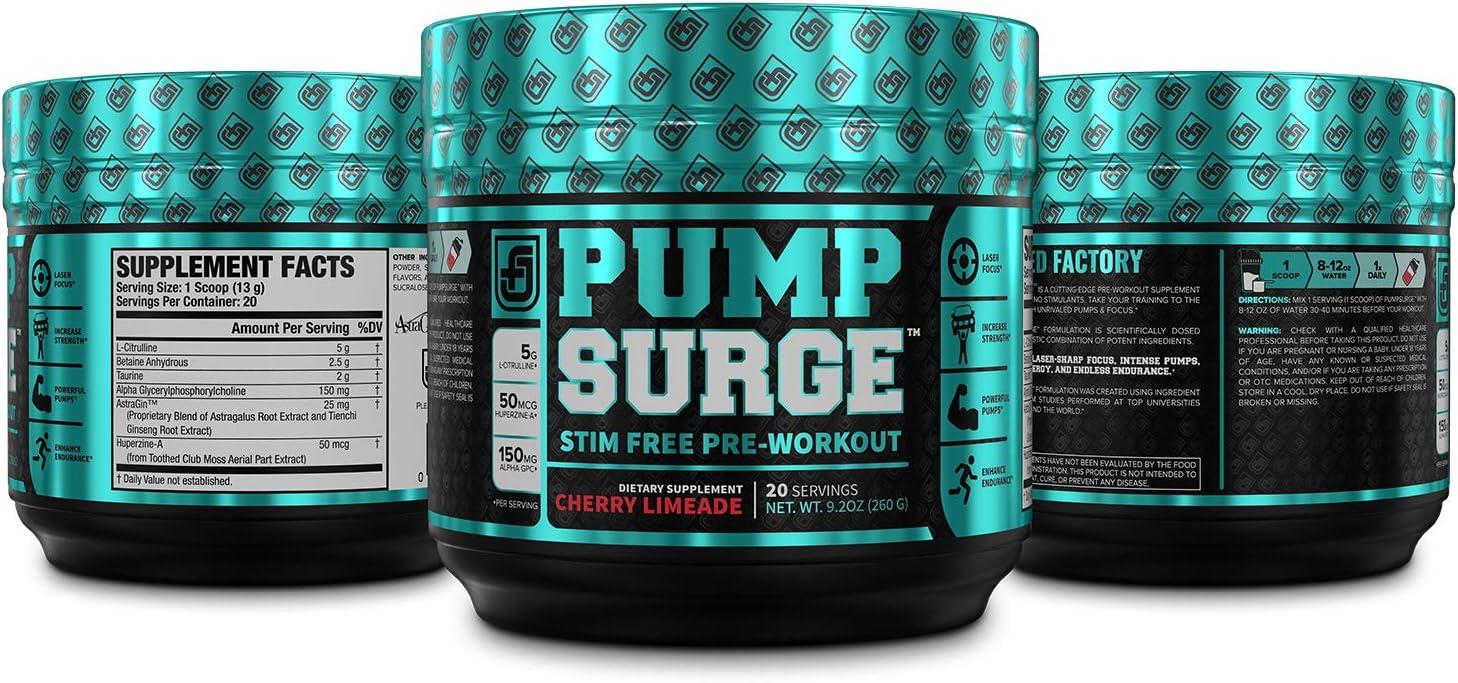 PUMPSURGE Caffeine-Free Pump & Nootropic Pre Workout Supplement, Non Stimulant Preworkout Powder & Nitric Oxide Booster,20 Servings, Cherry Limeade, 9.2 OZ: Health & Personal Care