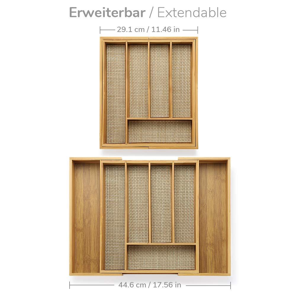 Ecooe Erweiterbares Bambus Besteckkasten Besteckeinsätze für die ...
