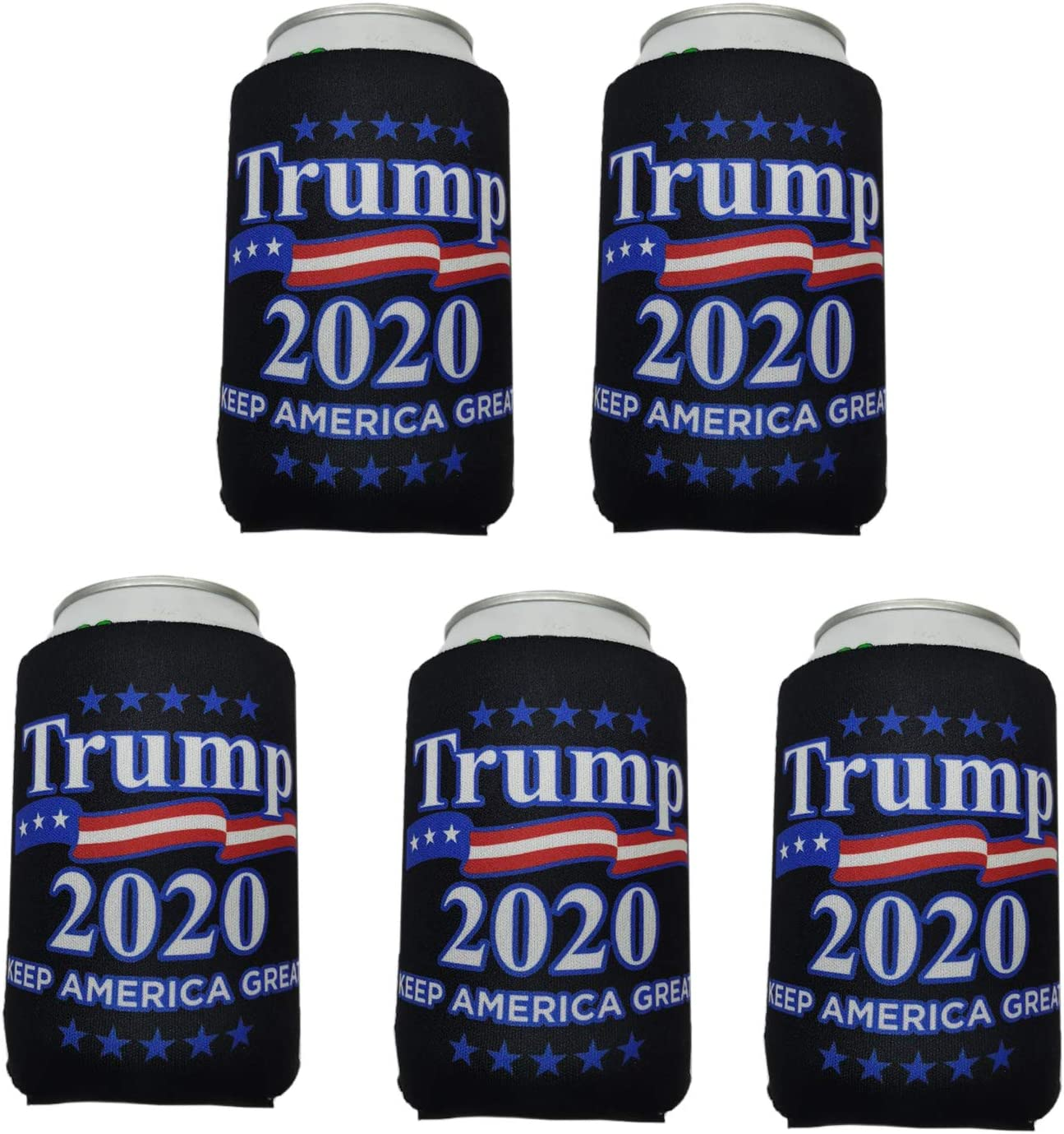 Hoijay 5pcs Neoprene Slim Beer Can Cooler,Foldable Stubby Holders of Beverage Coolers for 12-16oz Energy Drink & Beer Cans Trump MAGA 2020