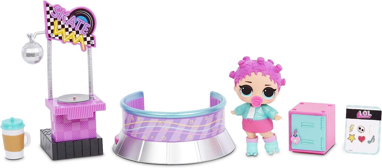 L.O.L. Surprise! Furniture Roller Rink with Roller Skater Doll & 10+ Surprises, Furniture ,Disco, DJ Stage Room playsets for Toddler Kids Boy and Girls Ages 4+