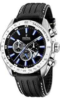 Festina Mens Crono F16489/3 Black Leather Quartz Watch with Black Dial