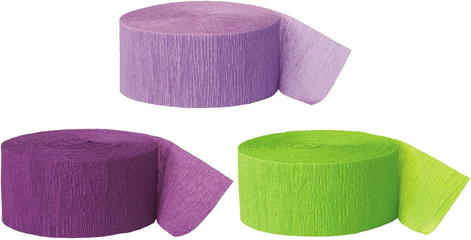 Andaz Press Crepe Paper Streamer Hanging Party Decorations Kit, 240-Feet, Lavender, Royal Purple, Kiwi Green, 1-Pack, 3-Rolls, Mermaid Colored Wedding Baby Bridal Shower Birthday Supplies, Tinkerbell