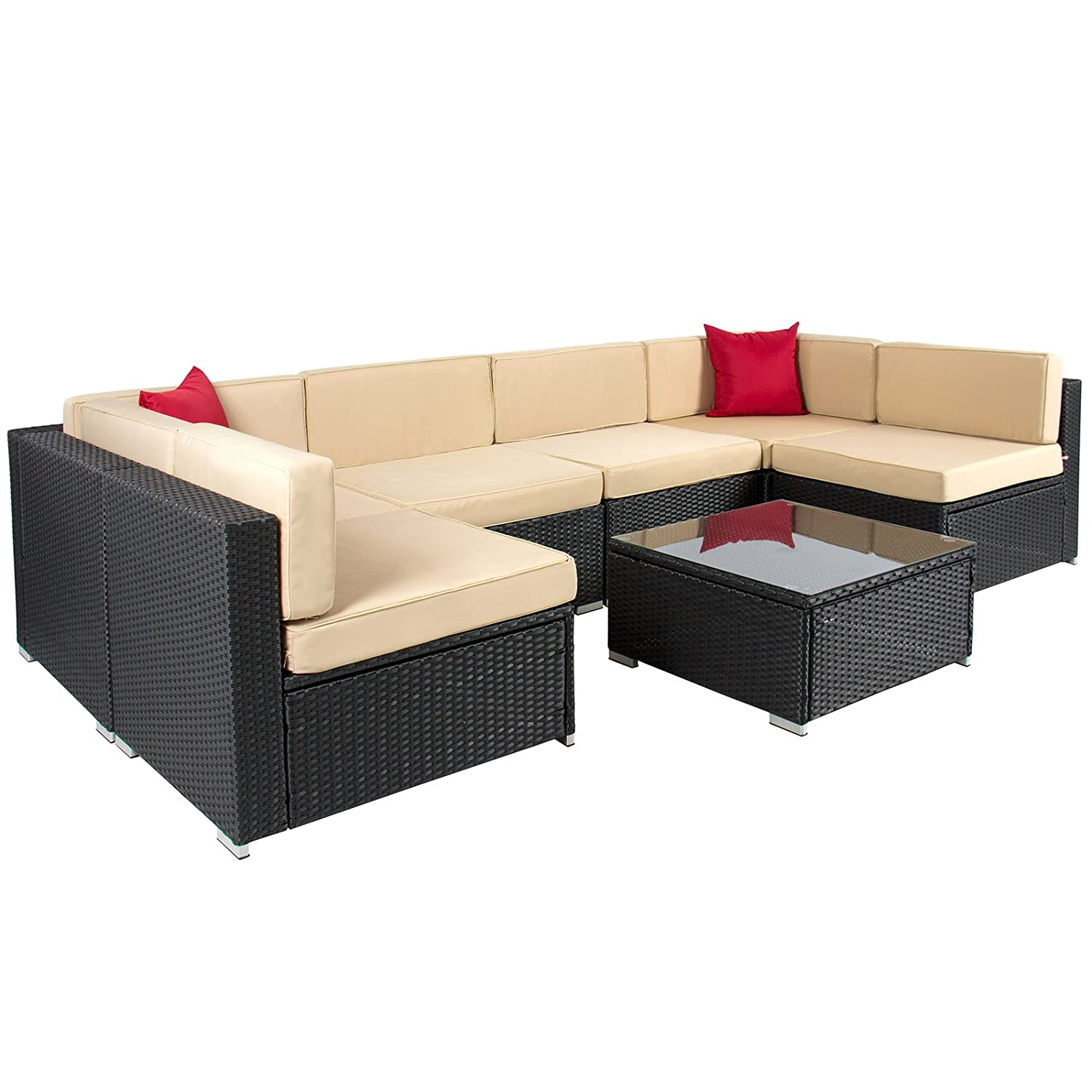 Amazon.com : Best ChoiceProducts 7 Piece Outdoor Patio Garden Furniture  Wicker Rattan Sofa Set Sectional, Black : Patio, Lawn U0026 Garden