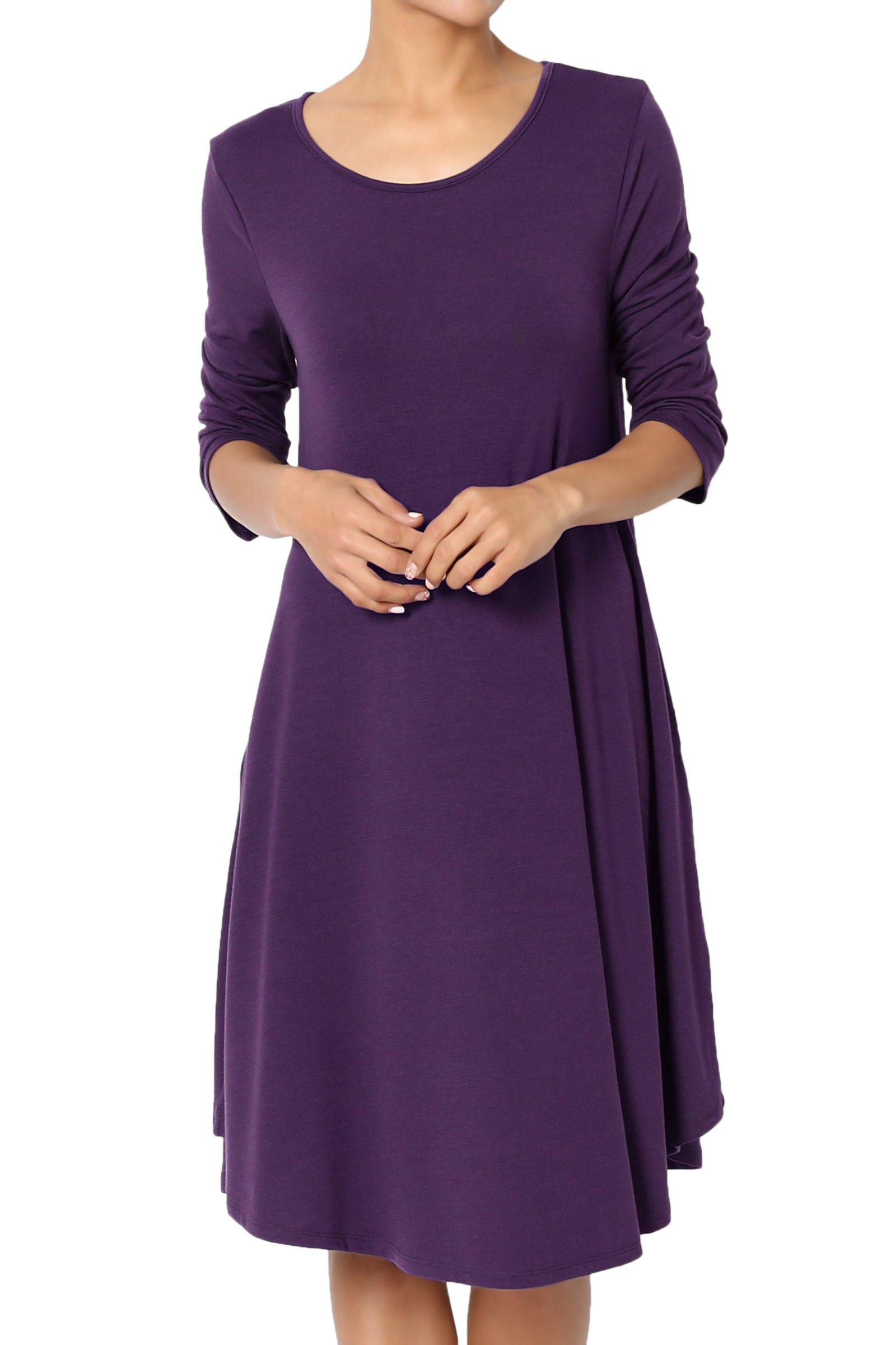 TheMogan Women's 3/4 Sleeve Trapeze Knit Pocket T-Shirt Dress Dark Purple 1XL