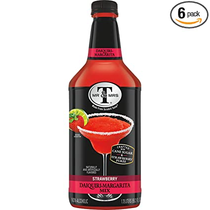 Amazon Com Mr Mrs T Strawberry Daiquiri Margarita Mix 1 75 Liter Bottle Pack Of 6 Cocktail Mixes Grocery Gourmet Food