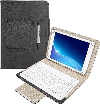 Lazmin Teclado inalámbrico Bluetooth para computadora portátil con Tableta de 10 , Estuche Protector de Cuero PU con Soporte y Teclado Bluetooth ...
