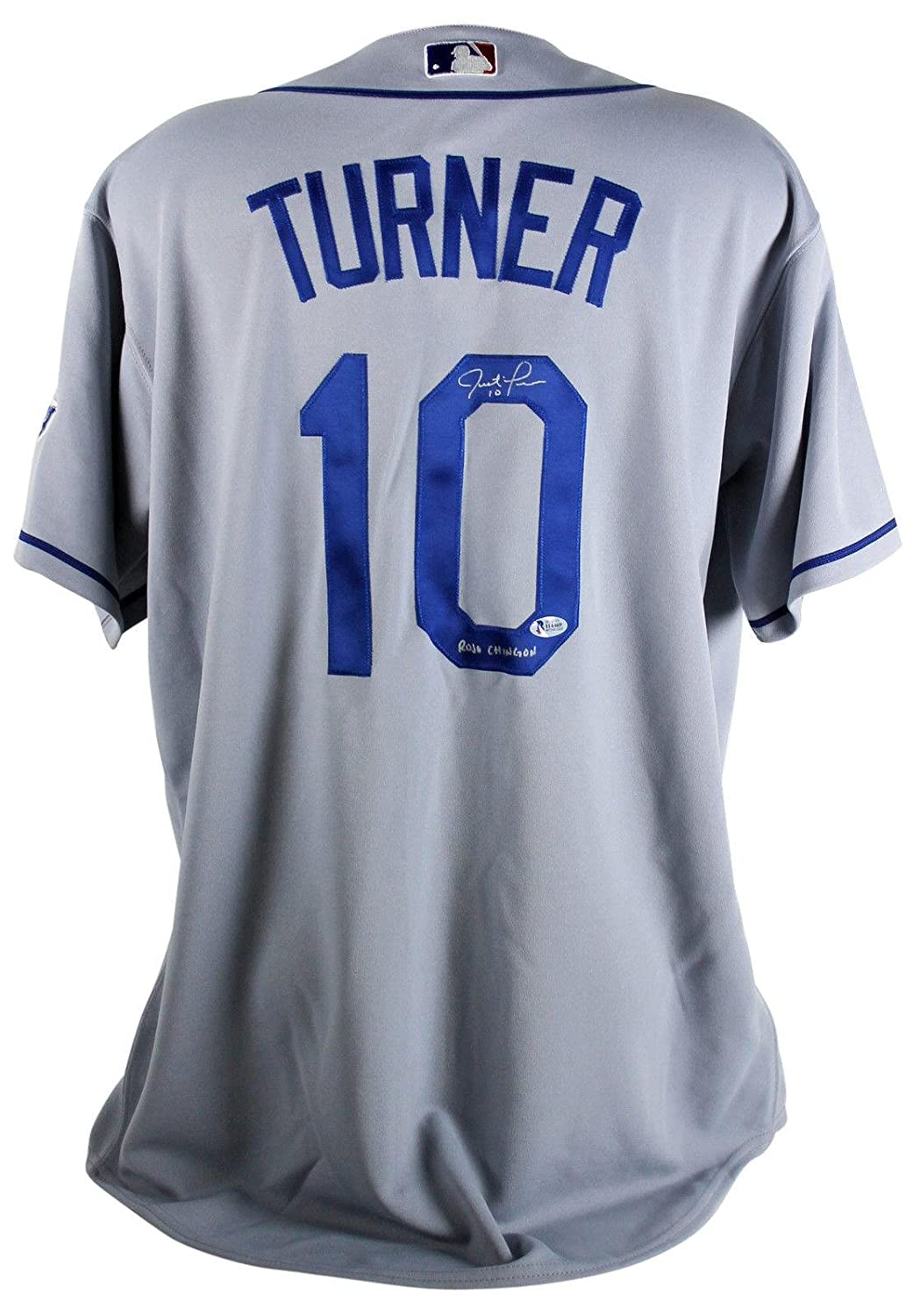 brand new 82f18 9661d Dodgers Justin Turner Rojo Chingon Signed Gray Majestic ...