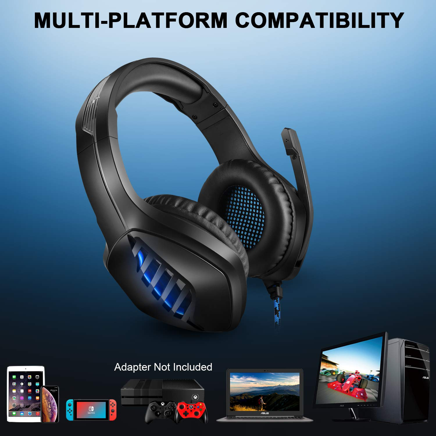Tyuobox Gaming Headset Headphone with 2.2 M Tangle Free Cord and Microphone-Black, PS4 Headset with Noise Canceling Mic & LED Light, Compatible with PC, PS4, Xbox One Controller