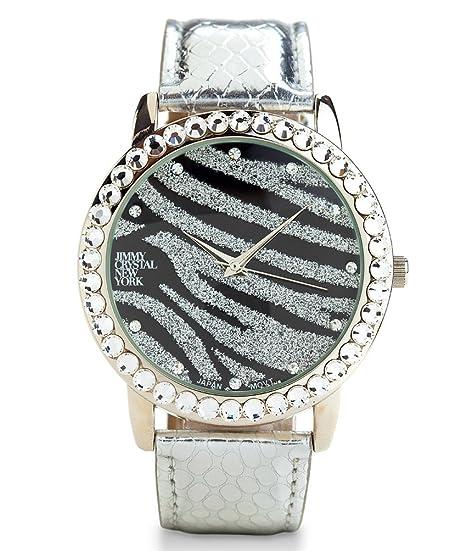 Jimmy Crystal New York Reloj de pulsera para mujer, 45 mm, con cristales, moderno estampado de cebra con brillantes en negro y plata: Amazon.es: Relojes