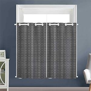 "Linhomedecor Night Darkening Curtains Monochrome Arrangement Grommet Curtains,Extra Darkening Curtains Drapes/Draperies Abstract White Black (1 Pair, 42"" Width x 63"" Length Each Panel)"