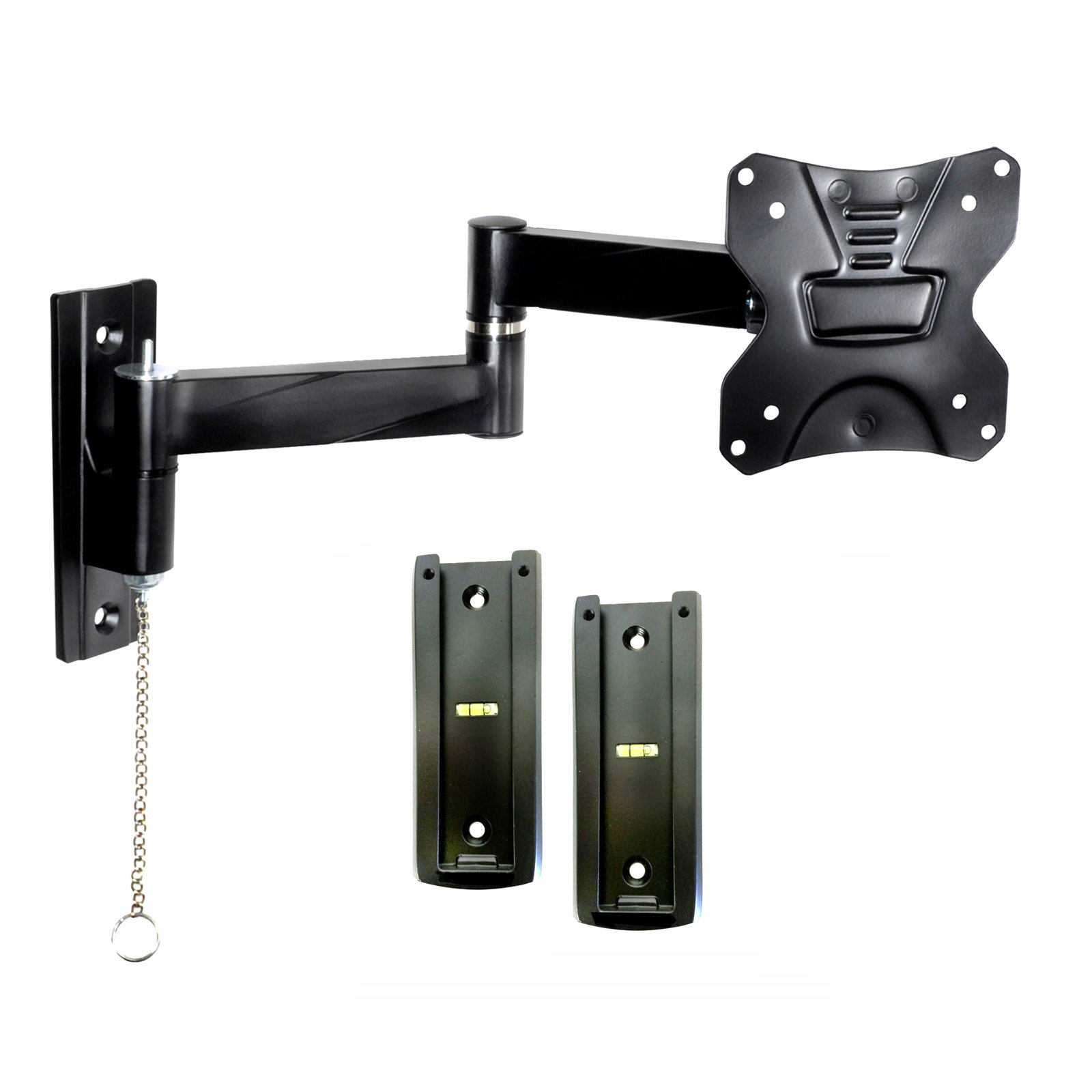 Portable Travel RV TV Mount with Locking Articulating Arm 2311L-2 Allows 1 TV to be Used in 2 Locations, 2 Wall Brackets & 1 Locking Mount Keeps TV Secure in Moving Vehicles up to VESA 100x100