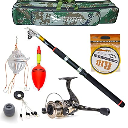 9ea40dd21f4 Amazon.com : Telescopic Fishing Rod Poles Kit, Travel Spin Spinning Rod and  Reel Combos with Reel Line Lures Hooks Saltwater Fishing Pole : Sports & ...
