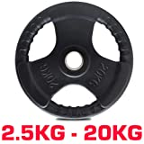 """TNP Accessories® Rubber Standard 1"""" Radial TRI-GRIP Rubber Hammertone Disc Weight Plates EZ Bar Curl Barbell Dumbbell Weights Fitness Gym 2.5kg to 25kg Set (PAIR)"""