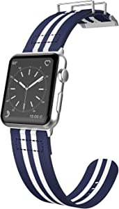 38mm Apple Watch Replacement Band, X-Doria Field Series - Compatible with Apple Watch Series 1, Series 2, Series 3 and Nike+, [Blue/White Stripe]