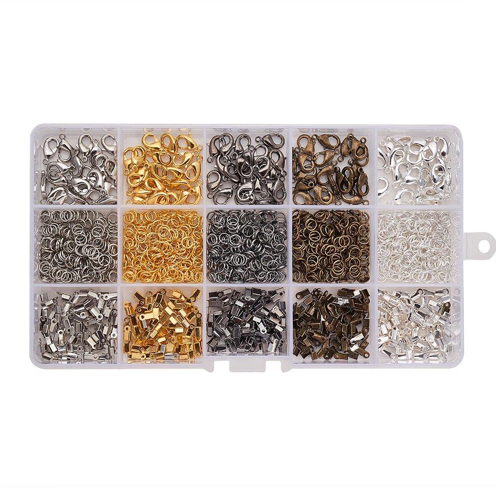 PandaHall Elite About 1050Pcs Jewelry Craft Starter Kit with Earring Findings Crimp Beads Elastic Fibre Wire and Head Pins in One Box Silver