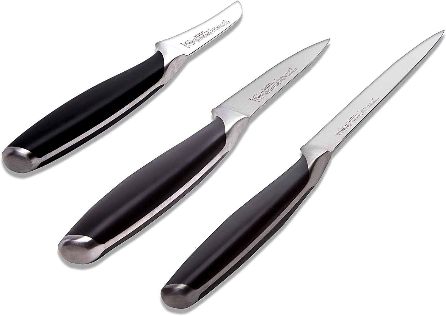 Mundial Titan Series 3 Pieces Knives Set Black Handle 3 5 In Paring 5 In Utility And 2 5 In Peeling Knives Kitchen Dining
