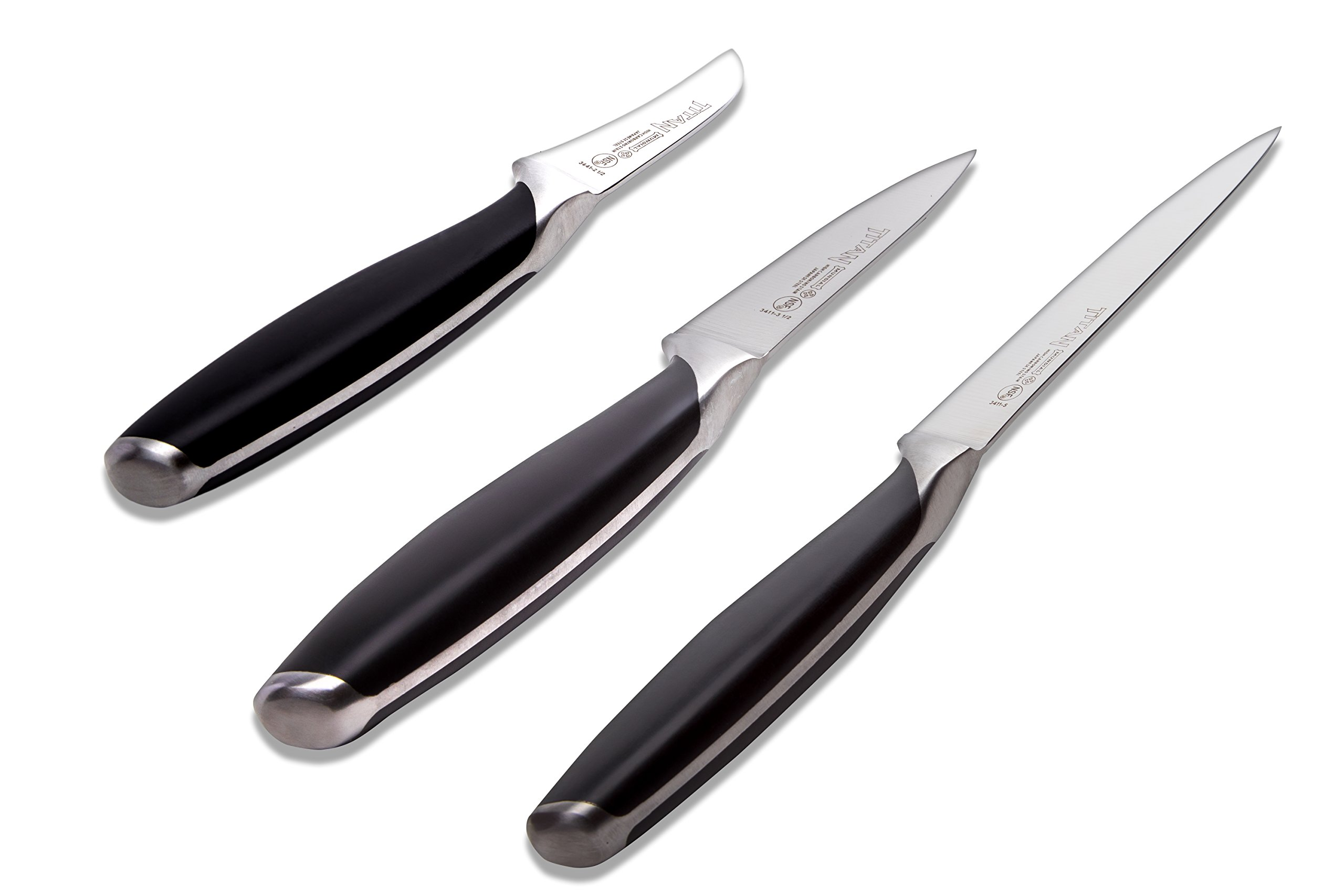 Mundial Titan Series 3 Pieces Knives Set, Black Handle, 3.5 in. Paring, 5 in. Utility and 2.5 in. Peeling Knives by Mundial (Image #2)