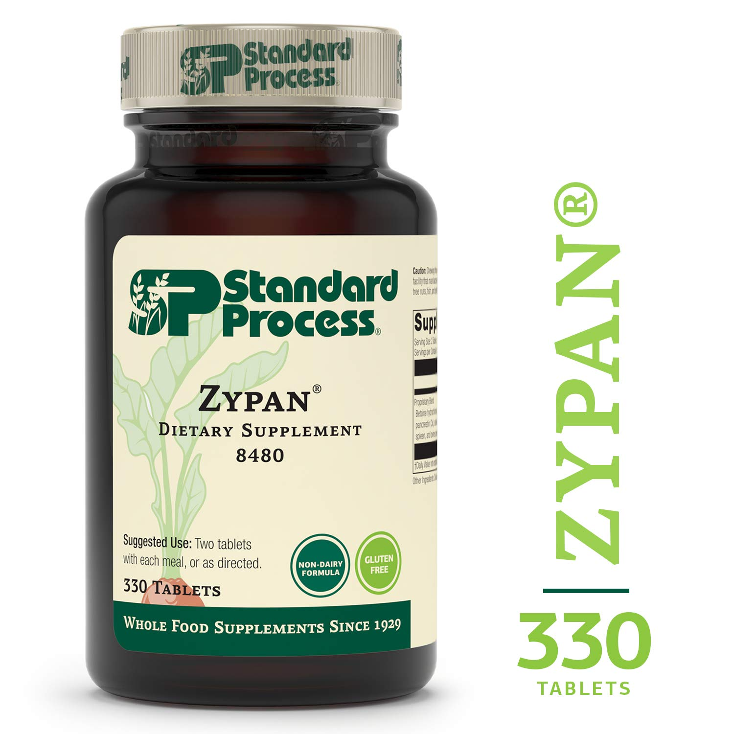 Standard Process - Zypan - Supports Healthy Digestion and Gastrointestinal pH, Enzymatic Support for Protein Digestion, Provides Pancreatin, Pepsin, Betaine Hydrochloride, Gluten Free - 330 Tablets