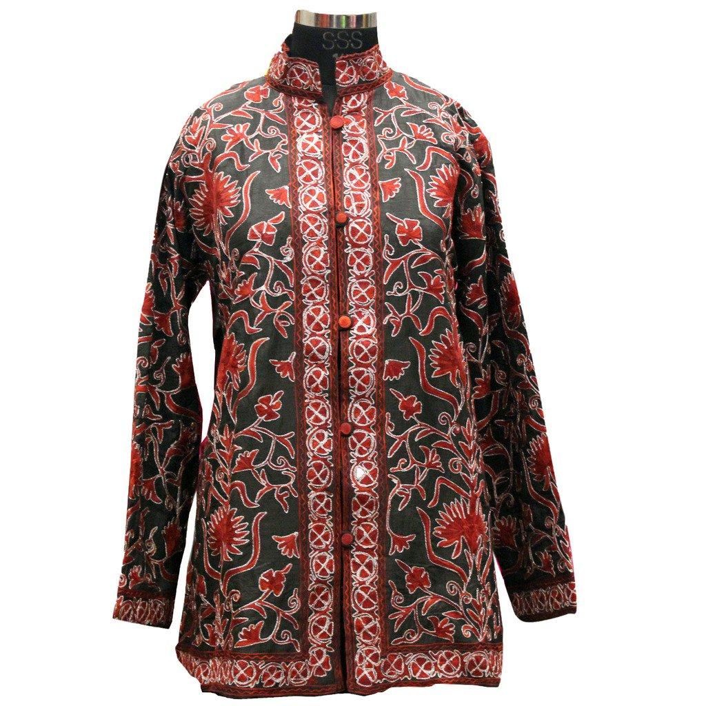 0b25adaab0 Gudindia Dark Green Kashmiri Design Aari Embroidered Silk Jacket:  Amazon.in: Clothing & Accessories