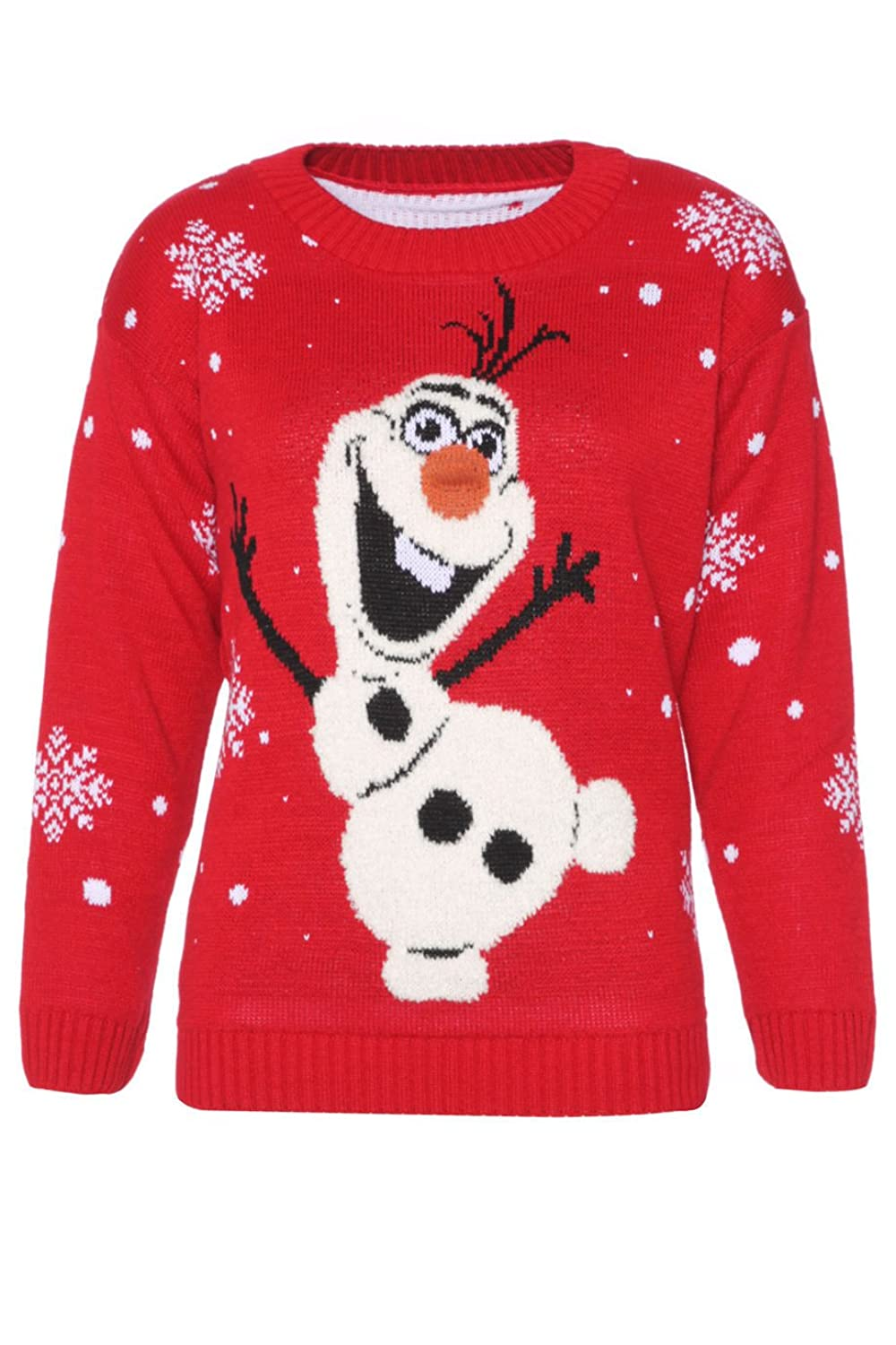 Womens Ladies Novelty Olaf Frozen Style Christmas Jumper Sweater ...