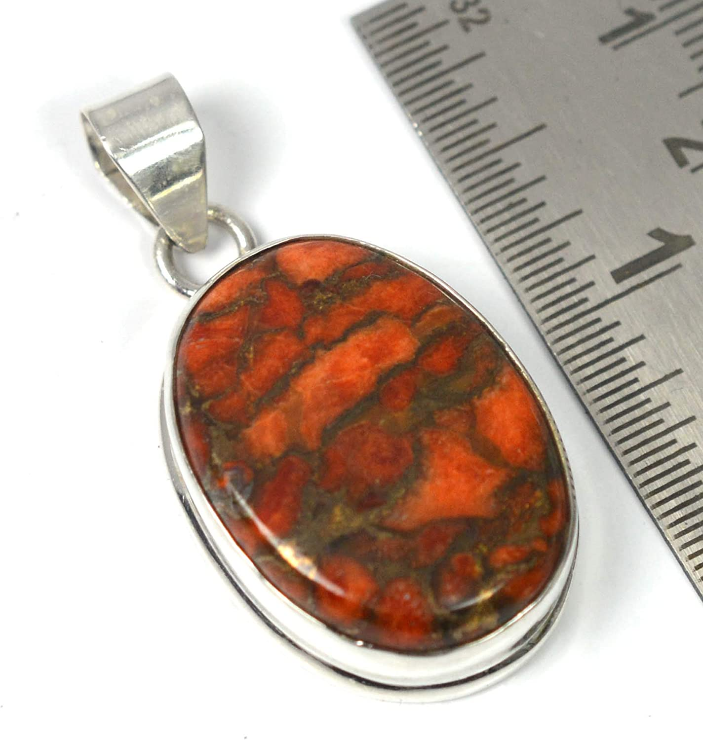 VICTORIANJEWELS 925 Solid Sterling Silver RED Copper Turquoise Chain PENDANT-19.7 INCH