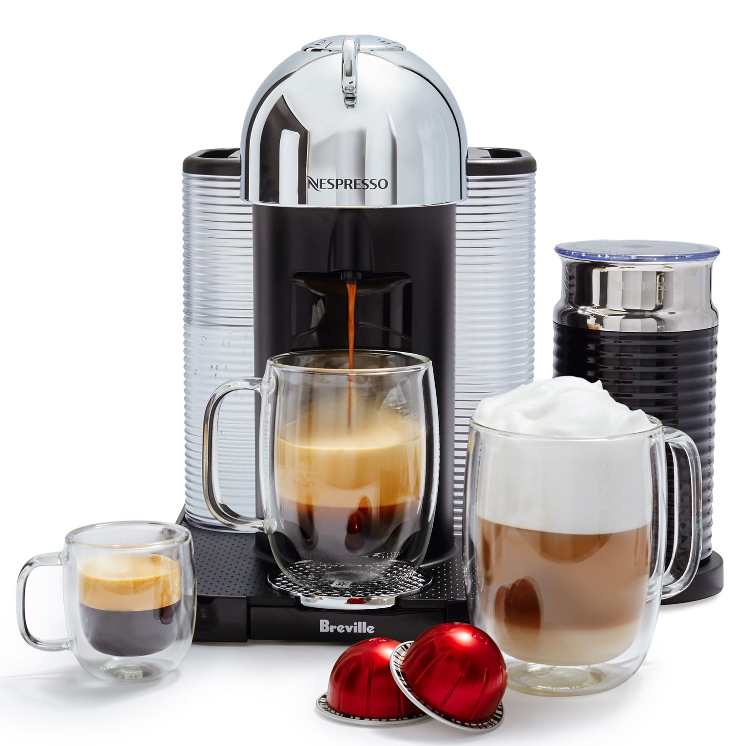 Nespresso Vertuo Coffee and Espresso Machine Bundle with Aeroccino Milk Frother by Breville, Chrome by Breville