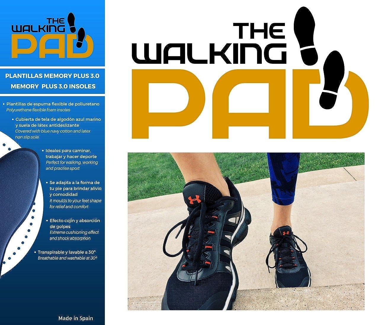 THE WALKING PAD - Plantilllas Memory Plus 3.0 de espuma flexible de poliuretano, cubiertas de tela de algodón azul marino y suela de látex antideslizante.