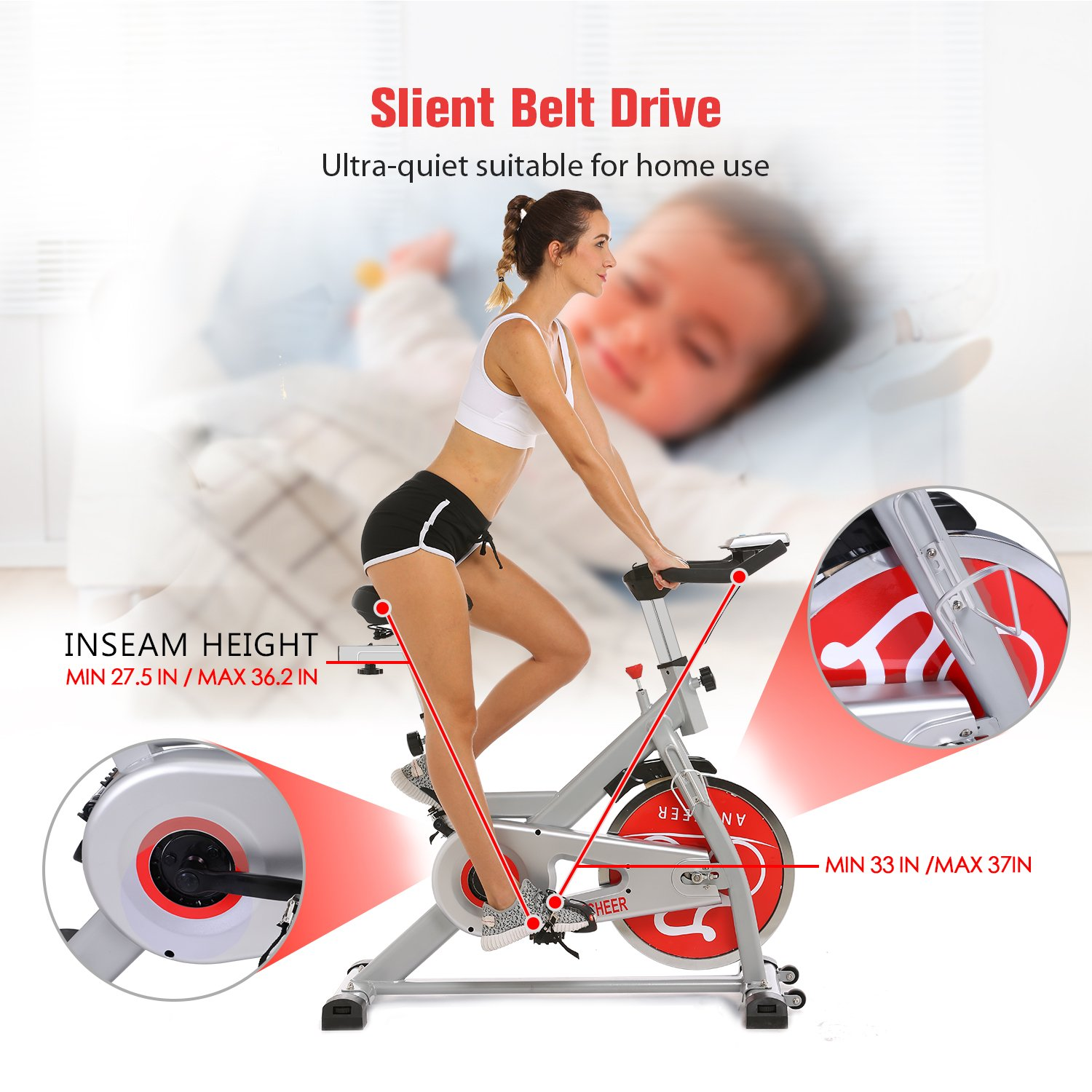 ANCHEER Indoor Cycling Bike, Belt Drive Indoor Exercise Bike with 49LBS Flywheel (Sliver) by ANCHEER (Image #6)