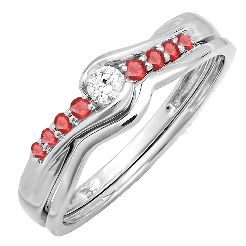 Amazon 18k White Gold Ruby And Diamond Promise Engagement Wedding Ring Set Jewelry: Ruby Wedding Ring Set 18k At Reisefeber.org