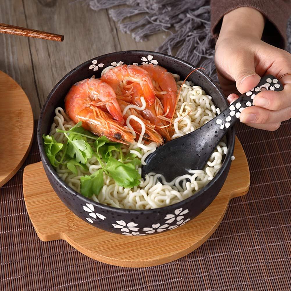 Bol Bol en c/éramique Noire avec Couvercle cuill/ère Bol /à Nouilles instantan/ées Bol /à Soupe cor/éenne Bol /étudiant Cantine Restaurant Japonais Vaisselle