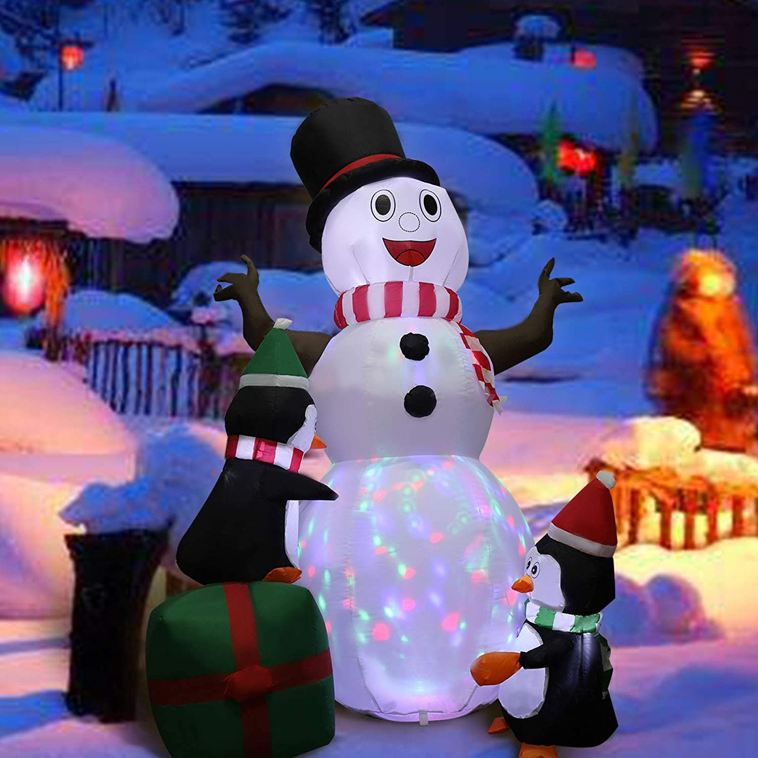 MorTime 6 FT Christmas Inflatable Snowman with Three Penguins, Blow up Airblown Lighted Smiling Cute Xmas Yard Decor with Colorful LED Lights for Christmas Outdoor Party Shopping Mall Decorations