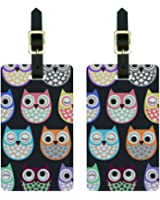 Cute Owls - Owl Pattern Luggage Tags Suitcase Carry-On ID Set of 2