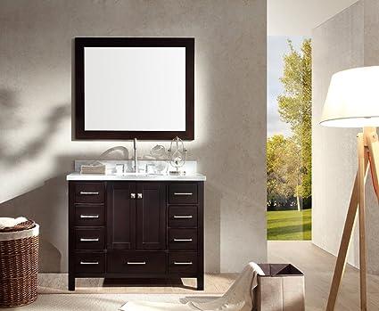 Ariel Cambridge A043S ESP 43u0026quot; Single Sink Solid Wood Bathroom Vanity  Set In Espresso