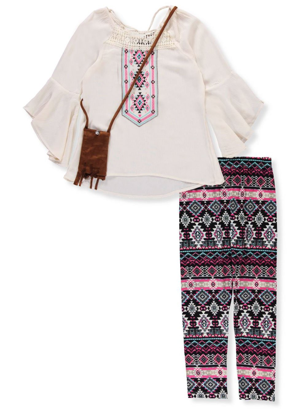 RMLA Big Girls' 2-Piece Leggings Set Outfit with Purse - Ivory, 8