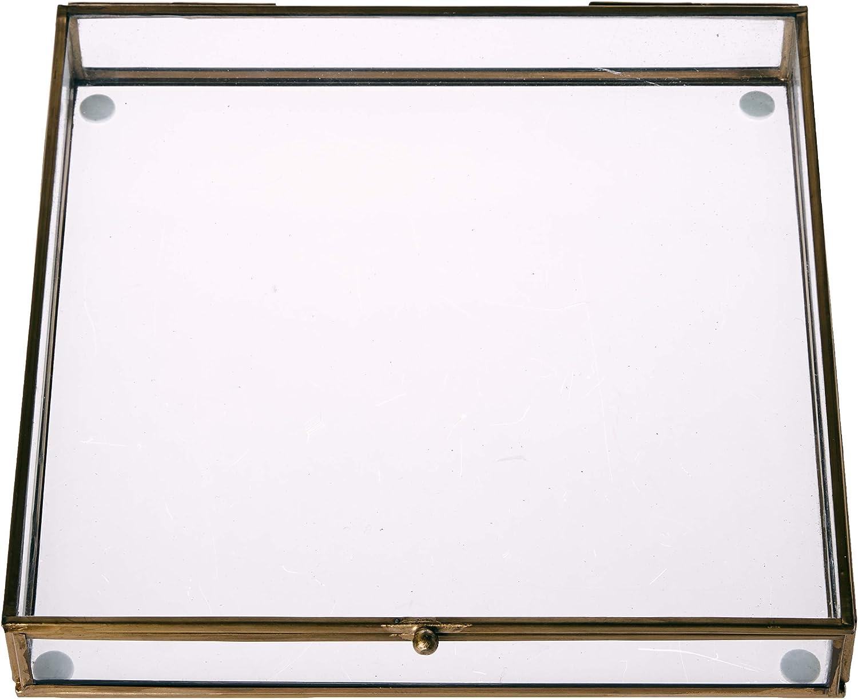 Better & Best Rctg Pñ Dorado Caja Rectangular Plana pequeña Filo, Medidas 38x12,5x4,5 cm, Material: Cristal/Metal ...