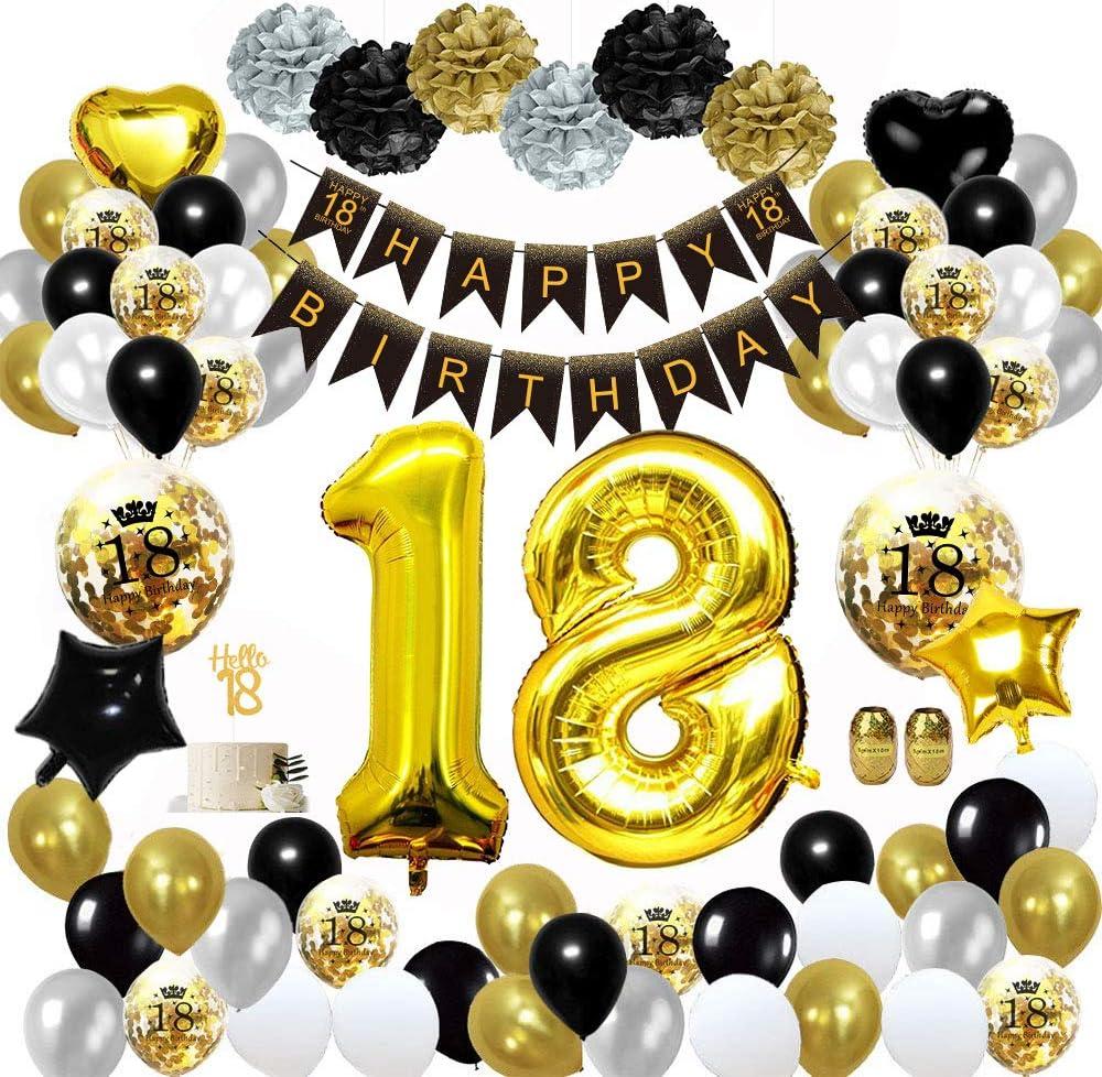 Mmtx 18 Geburtstag Dekoration Schwarzes Gold Geburtstag Party Deko Mit Happy Birthday Banner Konfetti Luftballons Herz Folienballons Für Mädchen Jungenparty Amazon De Küche Haushalt