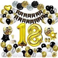 MMTX Födelsedagsdekoration svart guld, födelsedagsfest, dekoration med Happy Birthday-banderoll, konfetti, ballonger…