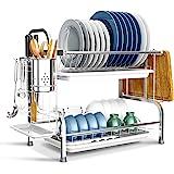 BENEECA Escurridor de platos de acero inoxidable de 2 niveles, menos ocupa más espacio, color plateado
