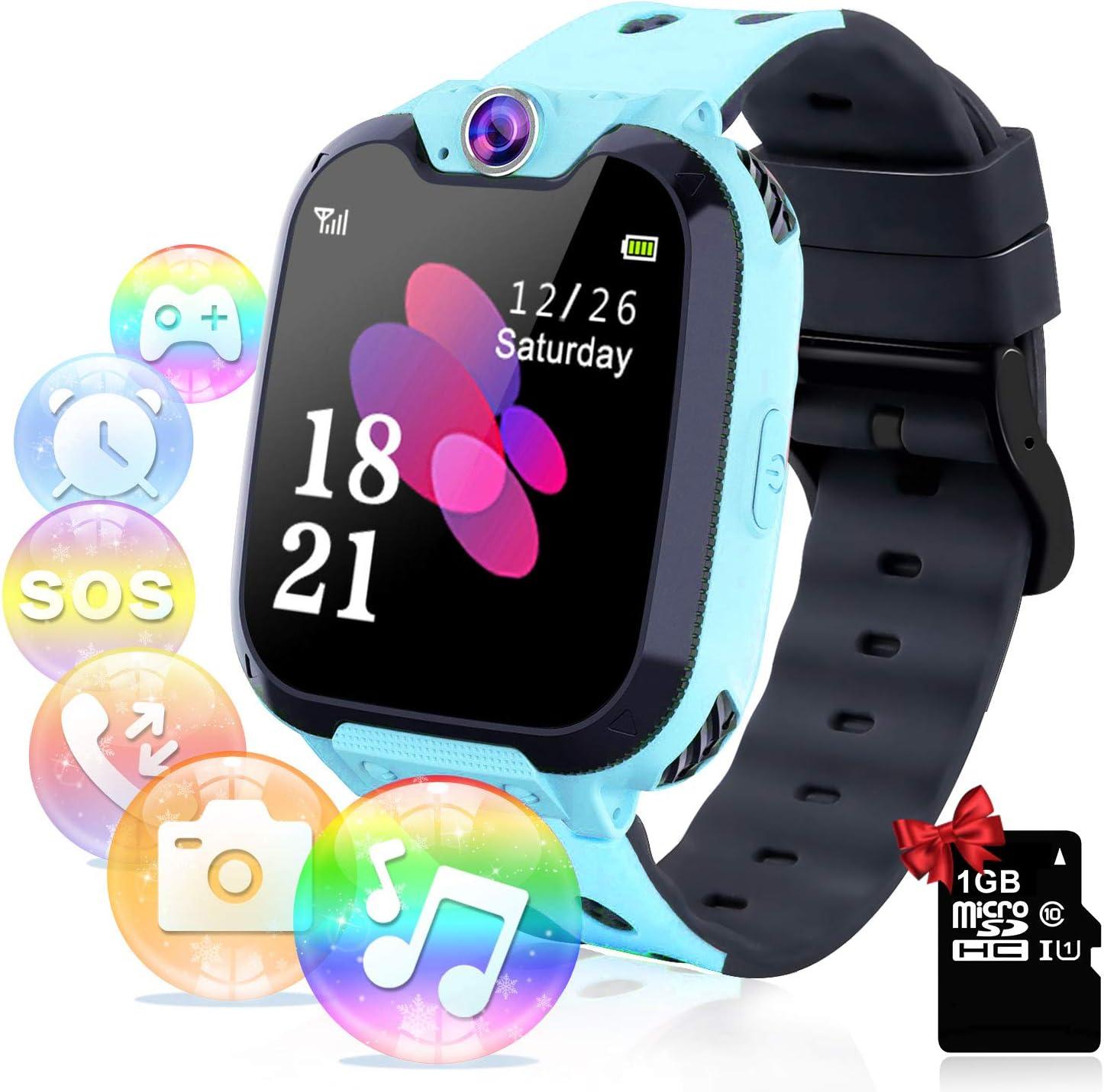 Relojes para Niños - Música Smartwatch para Niños Niña Game Watch (Tarjeta SD de 1GB incluida Pantalla táctil Relojes Inteligentes con Llamada Juego Cámara Música (Azul)